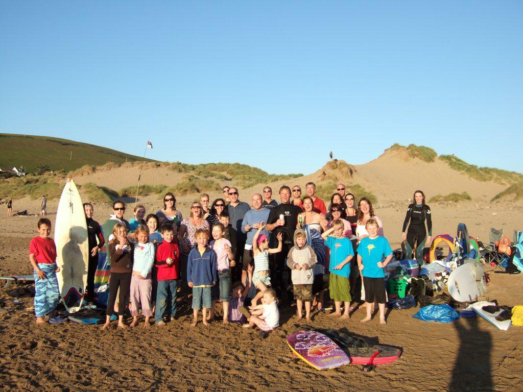 Group photo on the beach at Saunton